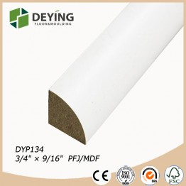 White primed quarter round trim moulding