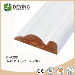 white primed wooden door casing molding