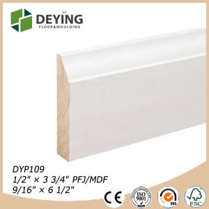 White primed finger joint pine Baseboard molding trims