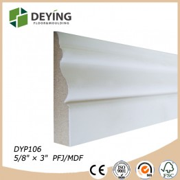 White primed MDF skirting board / baseboard molding for flooring