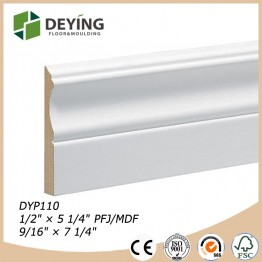 White primed MDF skirting board/baseboard molding for flooring