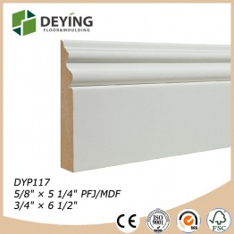 Gesso Coated White Primer Baseboard Molding